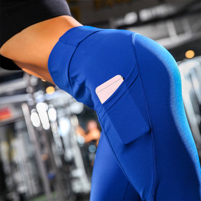 Yoga Sport Leggings With Phone Pockets - Blue