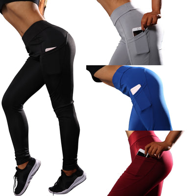 Yoga Sport Leggings With Phone Pockets - Black - Blue - Red - Gray