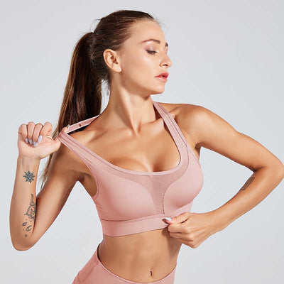 Sexy Shockproof Sports Bra Professional - Pink