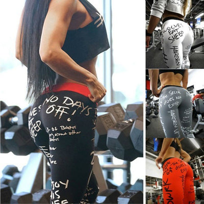 New High Waist Workout Leggings - White -Black - Red