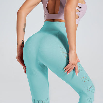 High Waist Gym Seamless Leggings-Blue