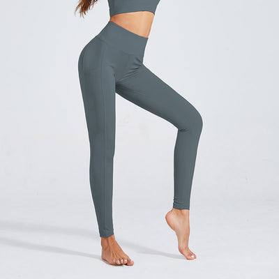 Women Workout Sports Leggings With Pocket - Gray
