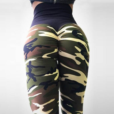 Camo Printed Long Trousers Workout Leggings-Green