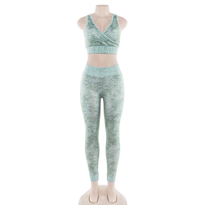 Workout Leggings  - Camo Wood Two Pieces Set - Green