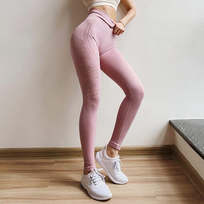 Women Seamless High Waist Leggings Peach Hip - Pink