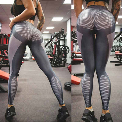 Honeycomb Workout Leggings - High Waist Silver - Silver