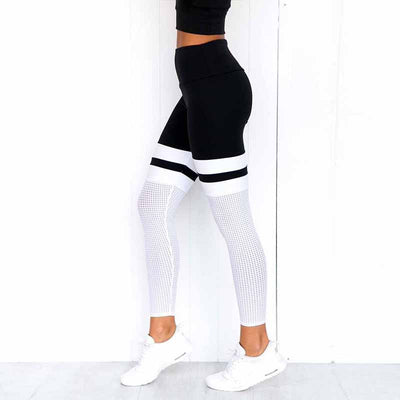 Women Mesh Casual Workout Leggings - Black-White