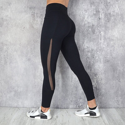 High Waist Workout Leggins With Pocket - Black