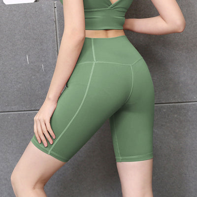 New Solid Color Yoga Shorts High Waist - Army Green