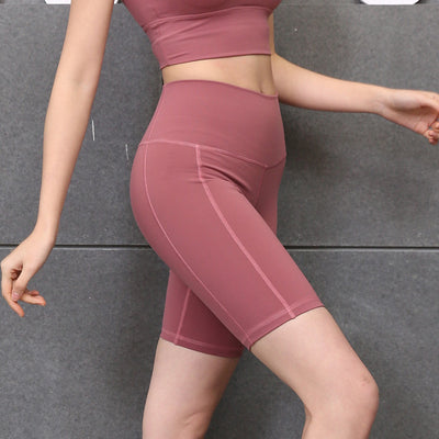 New Solid Color Yoga Shorts High Waist - Pink