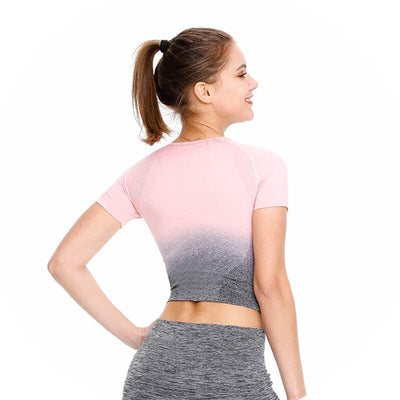 Seamless Yoga Short Sleeve Crop Top - Peach Gray