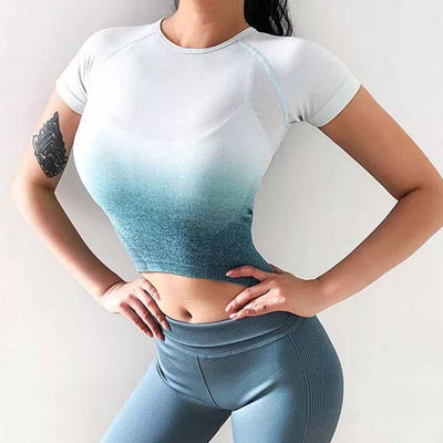 Seamless Yoga Short Sleeve Crop Top - Green