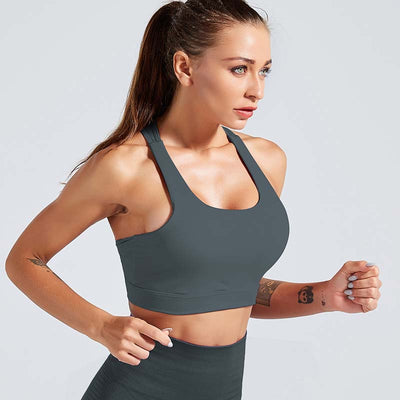Women Sports Bra Fitness Running Tops - Gray