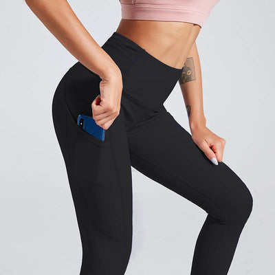 Naked Sensation Yoga Leggings With Pockets - Black