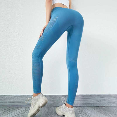 Women Seamless High Waist Leggings Peach Hip - Blue