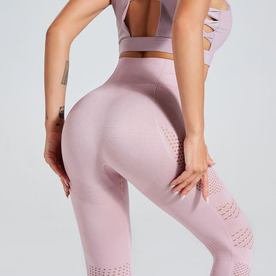 High Waist Gym Seamless Leggings-Pink