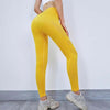 Women Seamless High Waist Leggings Peach Hip - Yellow