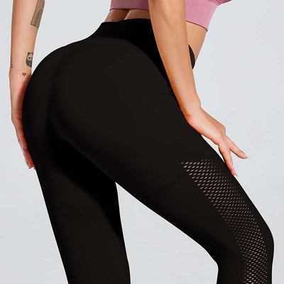 Solid Color Seamless Leggings Yoga Pants - Black