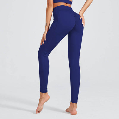 Women Workout Sports Leggings With Pocket - Blue