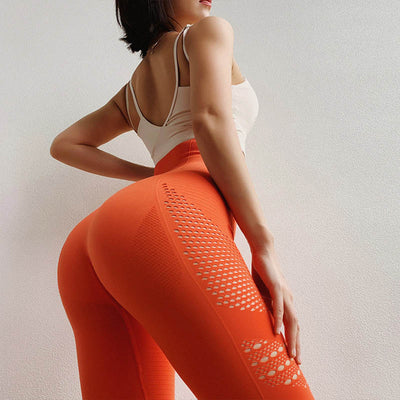 Women Seamless High Waist Leggings Peach Hip - Orange