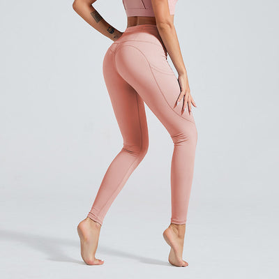 Naked Sensation Yoga Leggings With Pockets - Pink