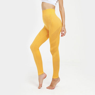 Hip Push Up Yoga Pants Seamless Leggings - Yellow