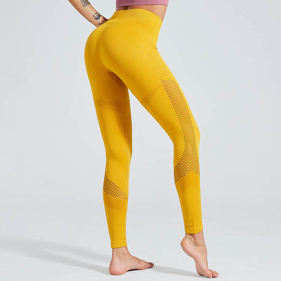 Solid Color Seamless Leggings Yoga Pants - Yellow