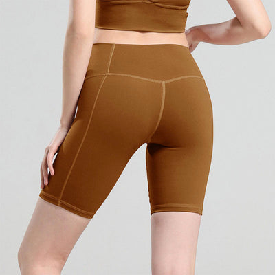 New Solid Color Yoga Shorts High Waist - Brown