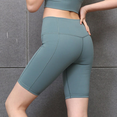 New Solid Color Yoga Shorts High Waist - Gray Green