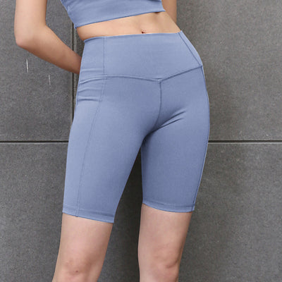 New Solid Color Yoga Shorts High Waist - Light Blue