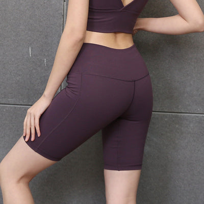 New Solid Color Yoga Shorts High Waist - Purple