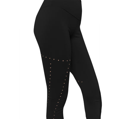Hollow Breathable Leggings -  Black