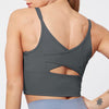 Mesh Back Cross Sexy Workout Bra-Gray