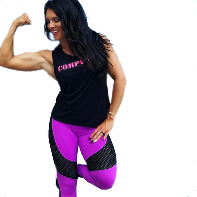 High Waist Sports Workout Leggings - Purple