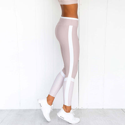 Women's Fashion Stripe Printed Leggings - Pink