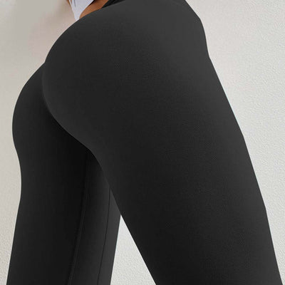 Peach Heart  Leggings Solid color - Black