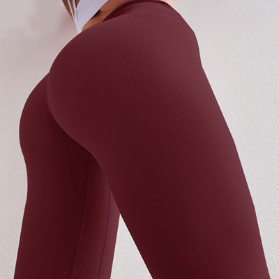 Peach Heart  Leggings Solid color - Wine Red
