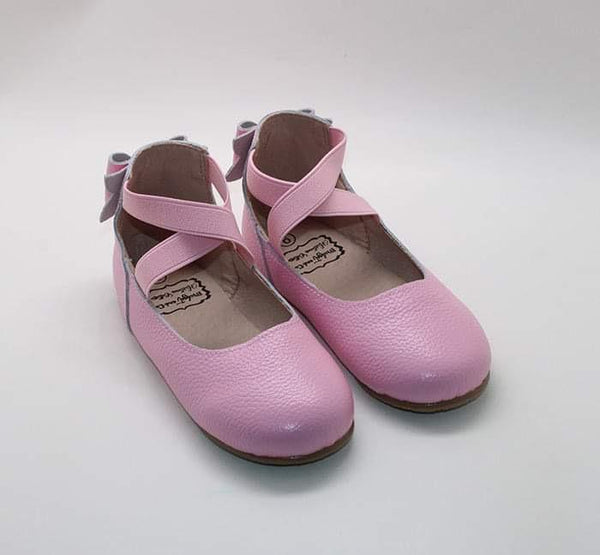 Pink Bow Back Ballet Shoes
