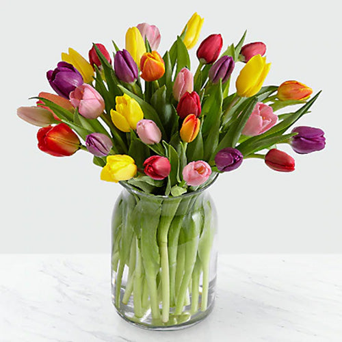 20 Assorted Tulips in a Vase
