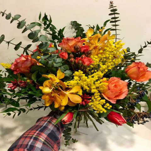 Orange-Yellow Hand Tied Bouquet