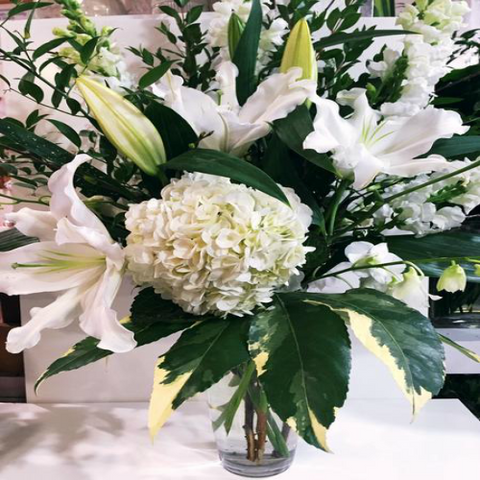 White & Green Vase Arrangement