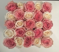 Pink & White Rose Box - 25 Roses
