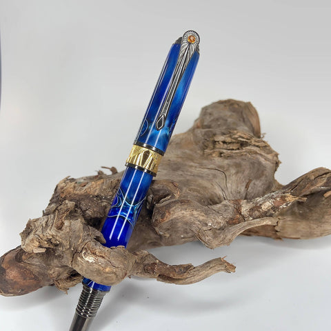 Premium Blue Fountain or Rollerball pen with Black Titanium and Gold highlights