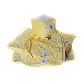 Contents of So Soft Organic Baby Accessories Package: Ducks Yellow including receiving blanket, 2 burp pads, 3 sizes of bibs, a diaper change pad and a play/learning block