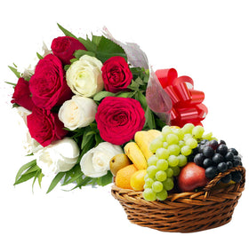 Fresh Fruit & Flowers Basket