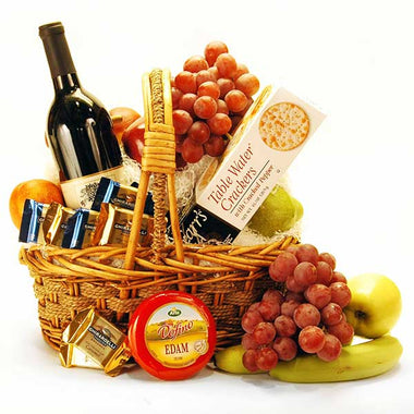 Cheese, Wine and Fruit Gourmet Basket