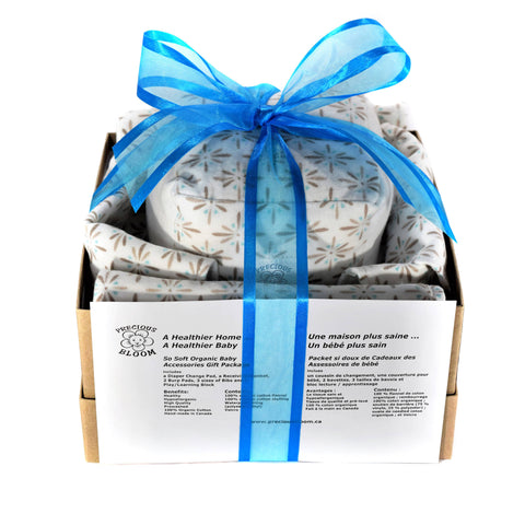 So Soft Organic Cotton Baby Accessory Gift Package: Burst Brown - includes a receiving blanket, a diaper changing pad, 2 burp pads, 3 sizes of bibs and a play/learning block - all in organic cotton flannel