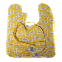 So Soft Organic Cotton Bib Set (3 sizes) in Ducks Yellow; 3 sizes to take baby through their first year; plastic snaps on the larger two bibs