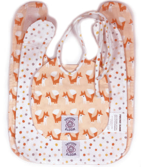 So Soft Organic Cotton Baby Bibs (3 sizes): Foxes Coral; 3 sizes to carry baby through their first year.