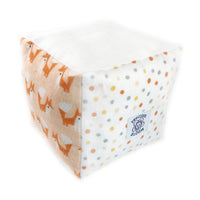 So Soft Organic Flannel Play/Learning Block: Foxes Coral; stuffing is organic cotton; block is approx. 5